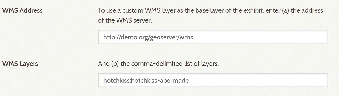 Screenshot of WMS Address and Layers fields