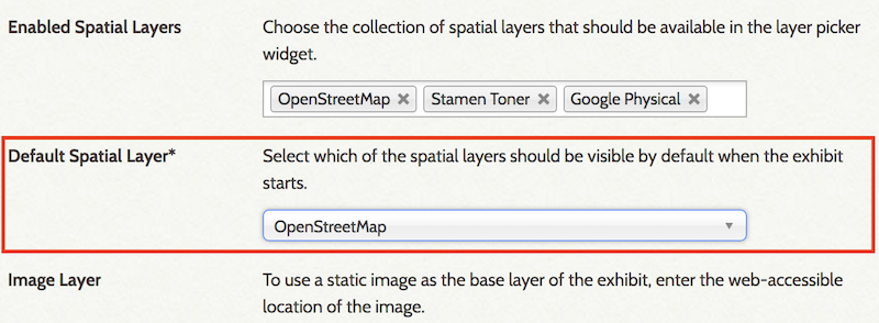 Screenshot of image layer with map base selected