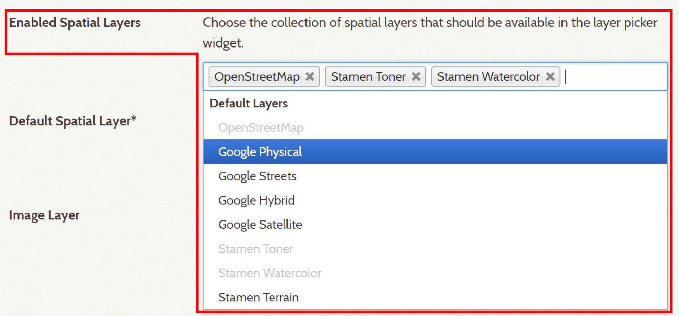 Screenshot of selecting enabled spatial layers