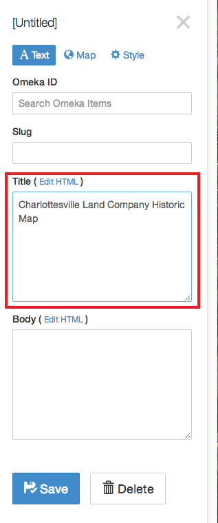 Screenshot of Title field